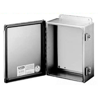 "Hoffman A1008CHNFSS 10"" x 8"" x 4"" Junction Box, Type-4X w/ Hinged Cover, Stainless Steel"