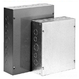 "Hoffman ASE24X24X6NK 24"" x 24"" x 6"" Screw-Cover Pull Box, Type 1, without Knockouts, Steel"