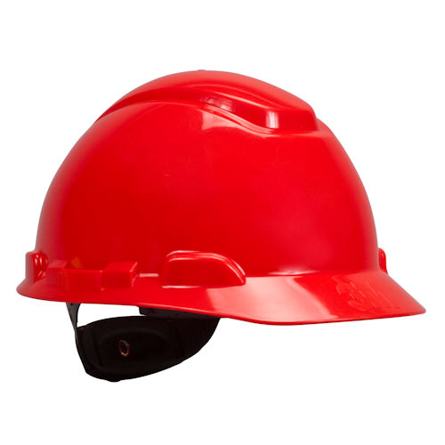 3M 64201 H-705R Hard Hat w/ 4-Point Ratchet Suspension - Red (20/Case)