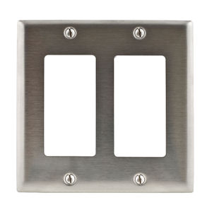 Hubbell SS262 2-Gang 2-Device GFCI, Surge Receptacle & Decorator Device Wallplate, Stainless Steel 302/304