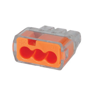 Ideal 30-1033J Orange 3-Port Push-In Wire Connector (Jar of 250)