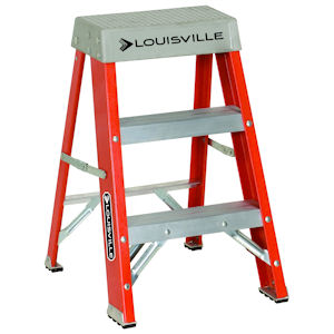Louisville Ladder FS1502 2ft Fiberglass Step Ladder, 300lb Load Capacity