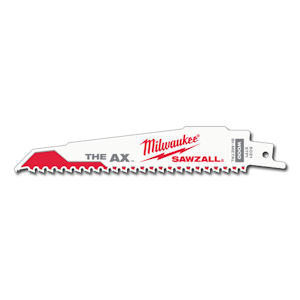 "Milwaukee 48-00-7021  6"" x 1"" x .062"" x 5/8TPI The Ax™ SAWZALL® Blade, Nail-Embedded Wood (100/Pack)"
