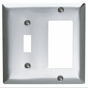 Pass & Seymour SS126 2Gang Wall Plate, Toggle / Decorator, Standard - 302 Stainless Steel