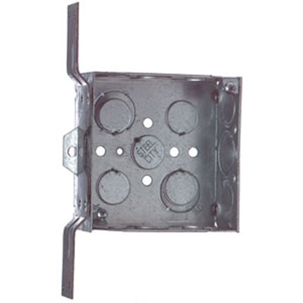 "Steel-City 72171-CV-1/2-3/4 4-11/16"" Steel Square Box, 2-1/8"" Deep, 42 cu.in. w/ 1/2"" & 3/4"" Eccentric KOs and ""CV"" Bracket"